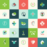 Set of flat design nature and beauty icons Royalty Free Stock Images