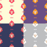 Set of flat design new year monkey seamless vector patterns. Collection of flat design monkey seamless vector patterns. Chinese zodiac symbol. Repeating monkey Royalty Free Illustration