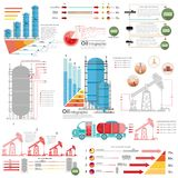 Set of flat design of oil derrick and gas rig infographics production delivery. And gas storing royalty free illustration