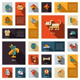 Set of flat design pet shop icons Royalty Free Stock Photography