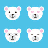 Set of flat design polar white bear smiles. Different facial expressions.  Stock Photography