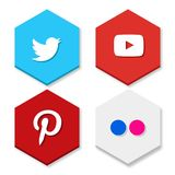 Set of flat design sale stickers. Vector illustrations of Twitter, Yoututbe, Pinterest and Flicker on white background. For web design and application royalty free illustration