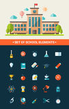 Set of flat design school icons Royalty Free Stock Image