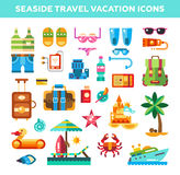 Set of flat design seaside travel vacation icons Stock Image