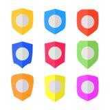 Set of Flat design Shields. Vector Stock Photos