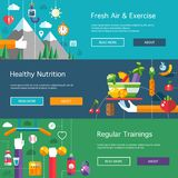 Set of flat design sport, fitness and healthy stock illustration