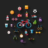 Set of flat design sport, fitness and healthy Royalty Free Stock Images