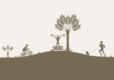 Set of flat design sport, healthy lifestyle  compositions. Set of flat design sport Royalty Free Stock Images