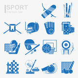 Set of flat design sport icon with isolated blue silhouette sport inventory and sports equipment. Set of flat sport icon with isolated blue silhouette sport Stock Photos