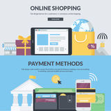 Set of flat design style banners for e-commerce. Set of flat design style concepts for e-commerce, m-commerce, online shopping, finance, banking, internet Stock Images