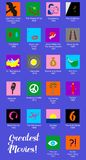 Set of flat design style icons dedicated to famous films. Different icons in the style of material design for the most famous films royalty free illustration