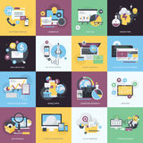 Set of flat design style icons for website and app development, e-commerce. Flat design style concept icons on the topic of web design and development, mobile Stock Image