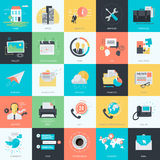 Set of flat design style universal icons Stock Image