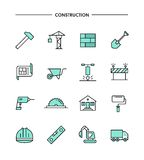 Set of flat design, thin line construction icons Royalty Free Stock Images
