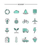 Set of flat design, thin line ecology icons Royalty Free Stock Photography
