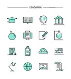 Set of flat design, thin line education icons Stock Images