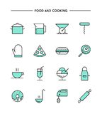 Set of flat design, thin line food and cooking icons Royalty Free Stock Image