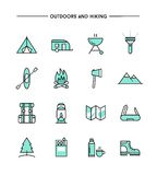 Set of flat design, thin line hiking and outdoors icons. Vector illustration stock illustration