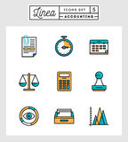 Set of flat design thin line icons of accounting elements. Vector illustration Royalty Free Stock Image