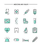 Set of flat design, thin line medicine and health icons Royalty Free Stock Images