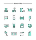 Set of flat design, thin line photography icons Royalty Free Stock Image