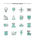 Set of flat design, thin line power and energy icons Royalty Free Stock Photos