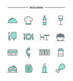 Set of flat design, thin line restaurant icons Royalty Free Stock Photos