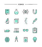 Set of flat design, thin line science icons Royalty Free Stock Photography