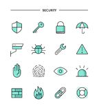Set of flat design, thin line security icons Royalty Free Stock Photography