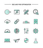 Set of flat design, thin line seo and web optimization icons Royalty Free Stock Photography