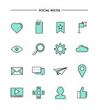 Set of flat design,thin line social media icons Stock Image