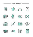 Set of flat design, thin line sound and music icons Royalty Free Stock Image
