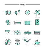 Set of flat design, thin line travel icons Royalty Free Stock Photography