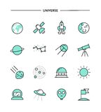 Set of flat design, thin line universe icons Stock Photos