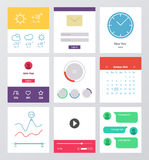 Set of flat design UI and UX elements Stock Images