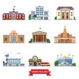 Urban facilities and public buildings vector icon set. Set of 9 flat design urban facilities and public buildings vector illustration