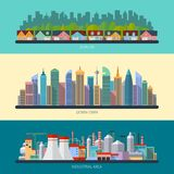 Set of flat design urban landscape illustrations
