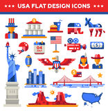 Set of flat design USA travel icons, infographics Royalty Free Stock Images