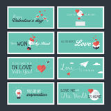 Set of flat design Valentines day greeting cards and banners Stock Images