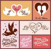Set of flat design Valentines day greeting cards Royalty Free Stock Image