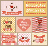 Set of flat design Valentines day greeting cards Royalty Free Stock Photography