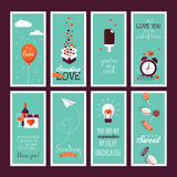 Set of flat design Valentines day greeting cards Stock Images