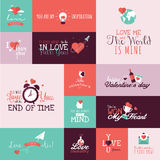 Set of flat design Valentines day signs Stock Photos