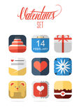 Set of flat design valentines icons. Set of flat design romantic valentines icons Royalty Free Stock Photos