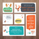 Set of flat design vector illustration Christmas and New Year greeting cards Royalty Free Stock Photography