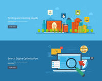 Set of flat design vector illustration concepts. For finding and meeting people, search engine optimization and web analytics elements. Meet new people and find Stock Photos