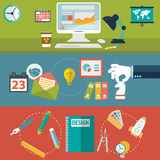 Set of flat design vector illustration concepts for website layout, mobile phone services and apps, computer tablet Royalty Free Stock Images