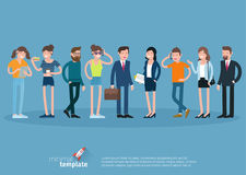 Set of flat design vector people characters. Stock Photos