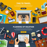 Set of flat design vector travel concept banners Stock Images
