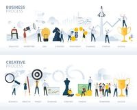 Set of flat design web banners of business process and creative process, isolated on white. Stock Image